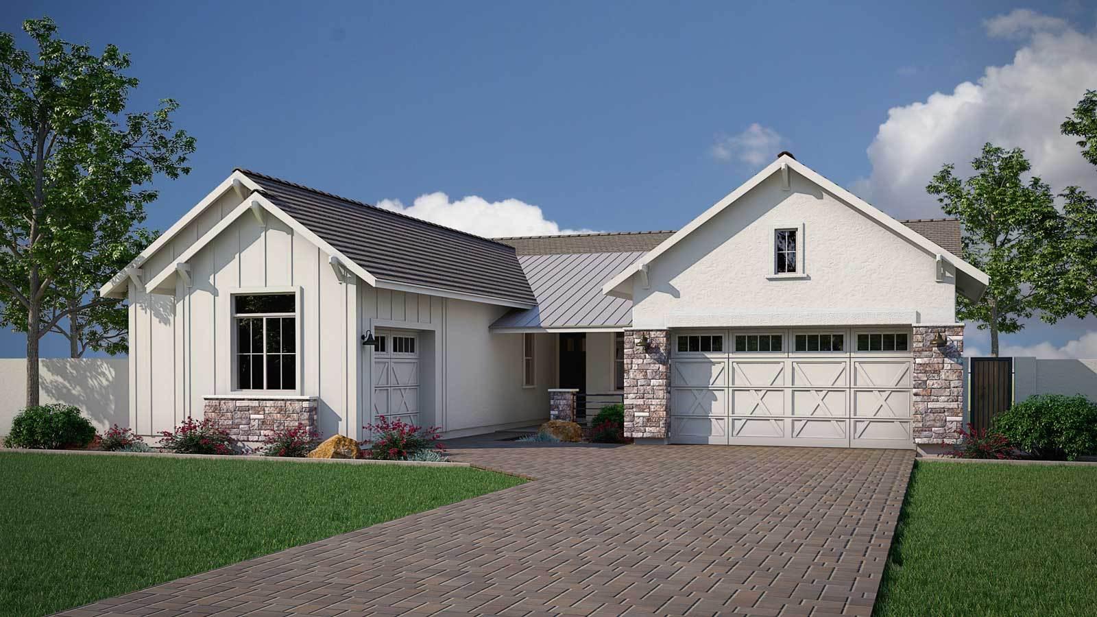 Exterior:Harvester Floor Plan   Modern Farmhouse Elevation