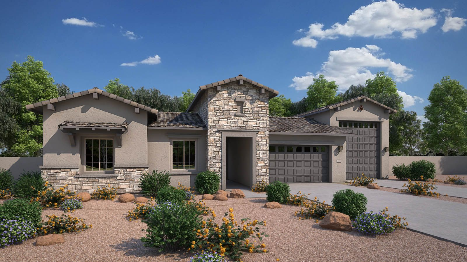 Exterior:Elevation C Rendering - Rural Mediterranean