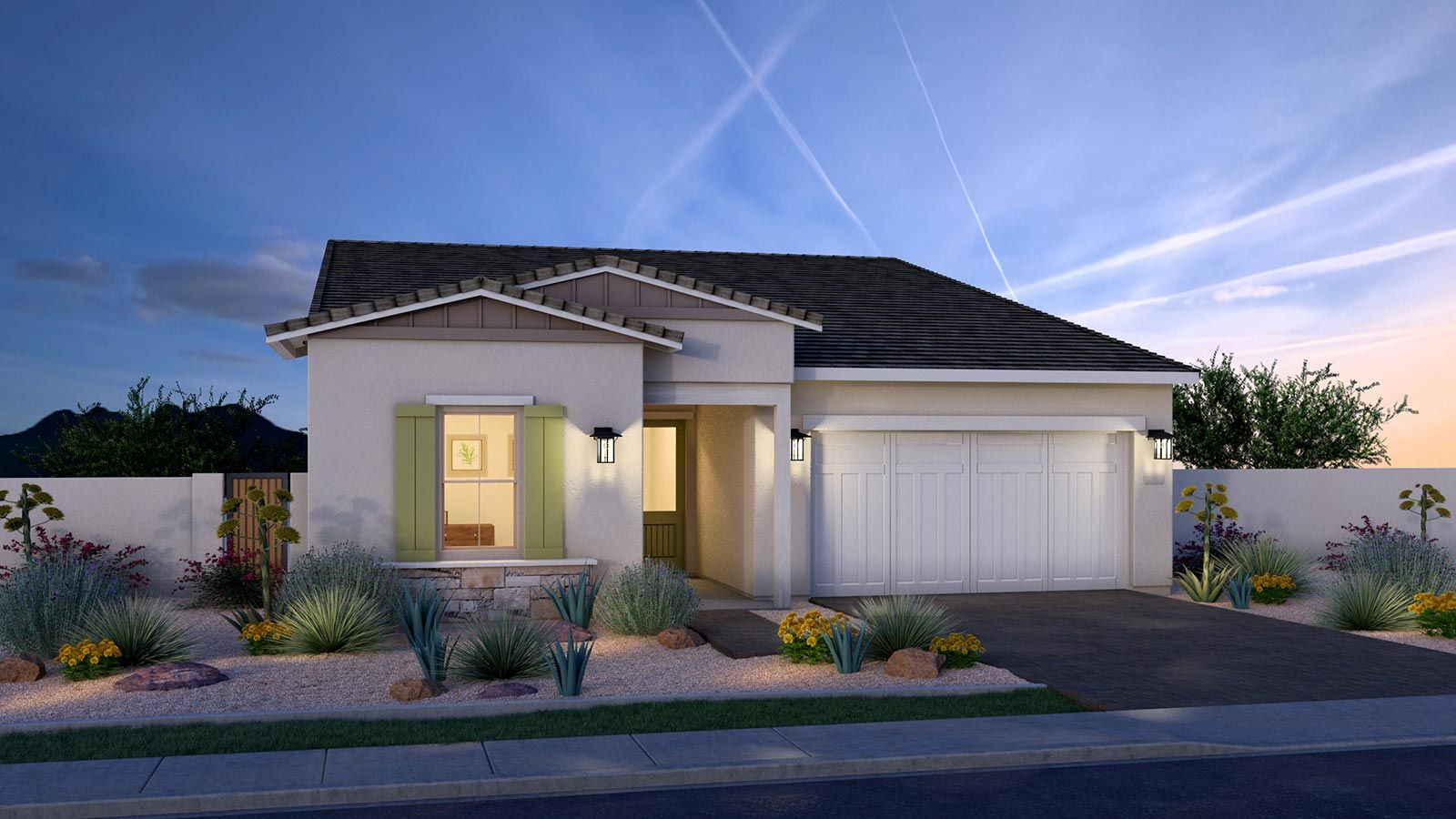 Exterior:Modern Ranch Elevation Rendering
