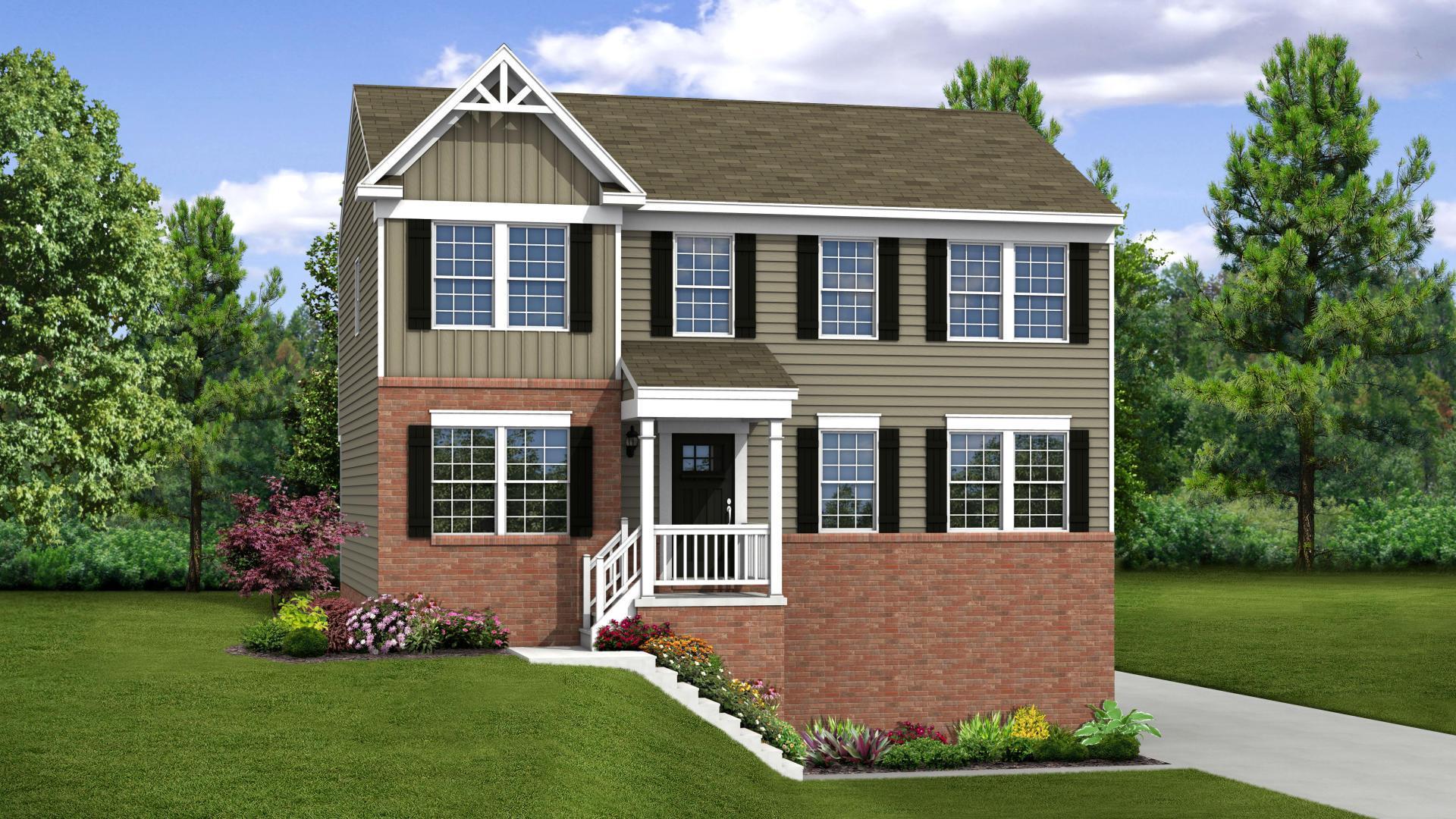 Exterior:Elevation: G Opt Victorian Inspired Facade, Porch, & Side Garage