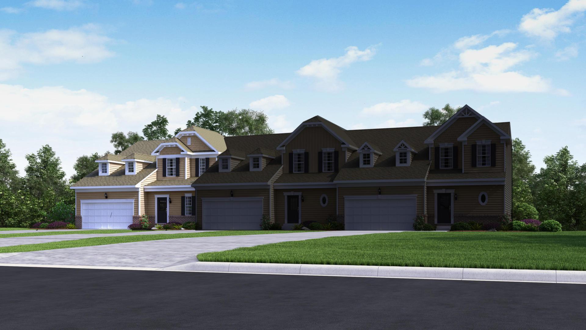 Exterior:Elevation: D Opt Partial Brick Front & Dormers