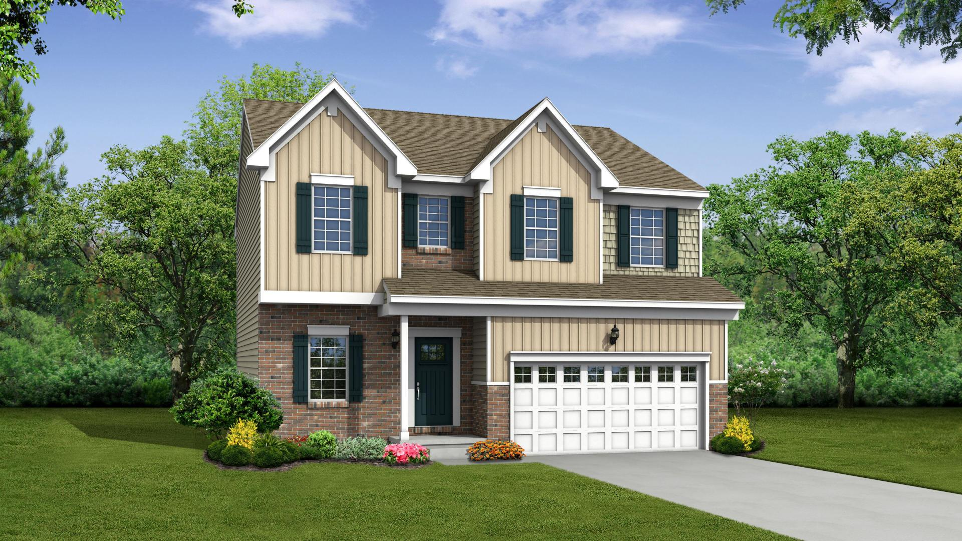 Exterior:Elevation: B Opt Carolina Brick Front, Partial Porch, & Garage Door