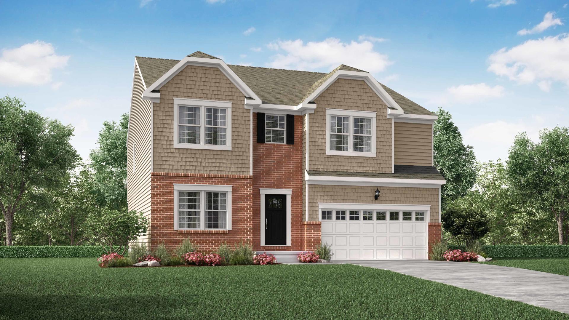 Exterior:Elevation: B Optional New England Partial Brick