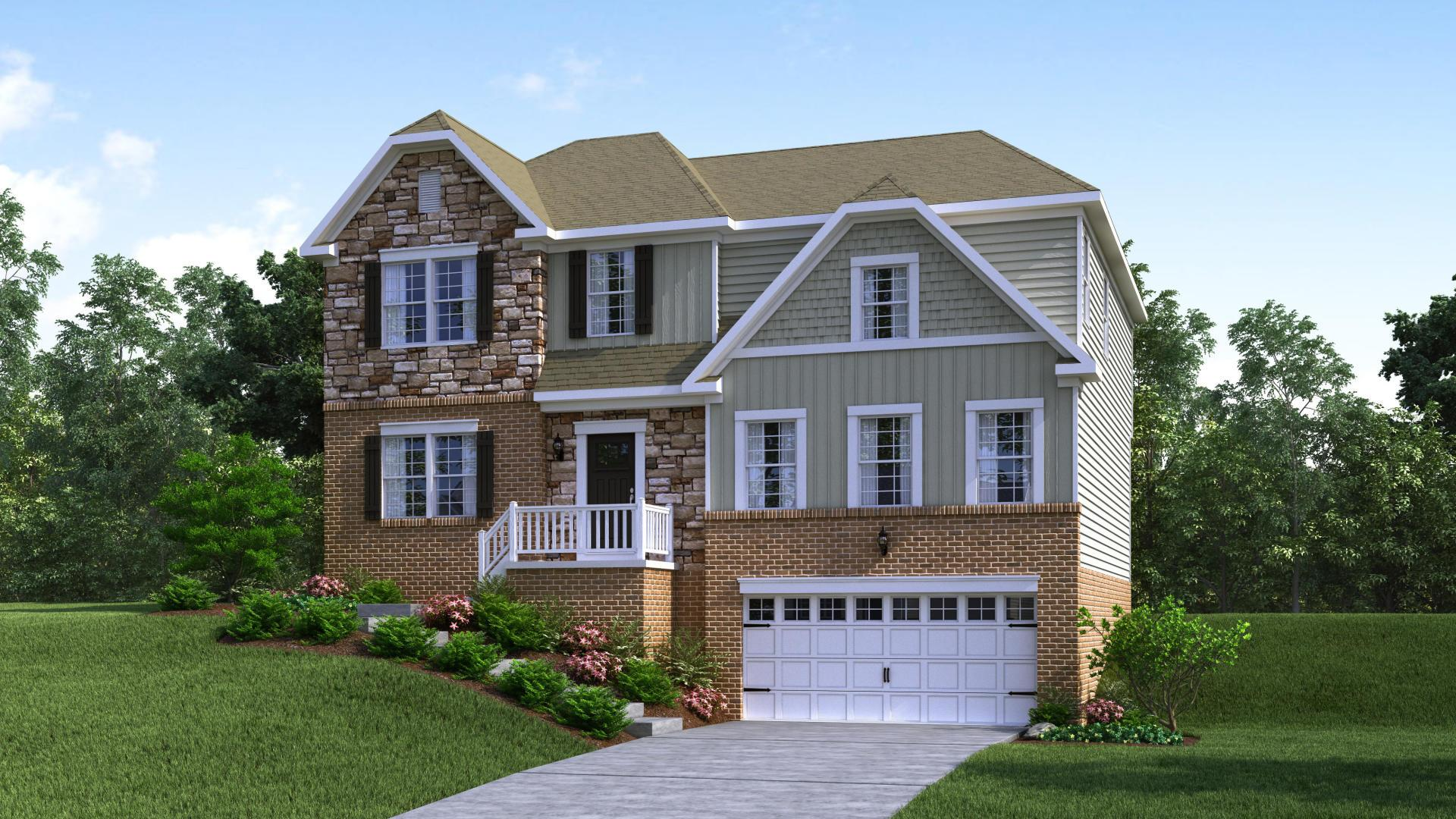 Exterior:Elevation: H Opt New England Inspired Brick & Stone Facade with Garage Do