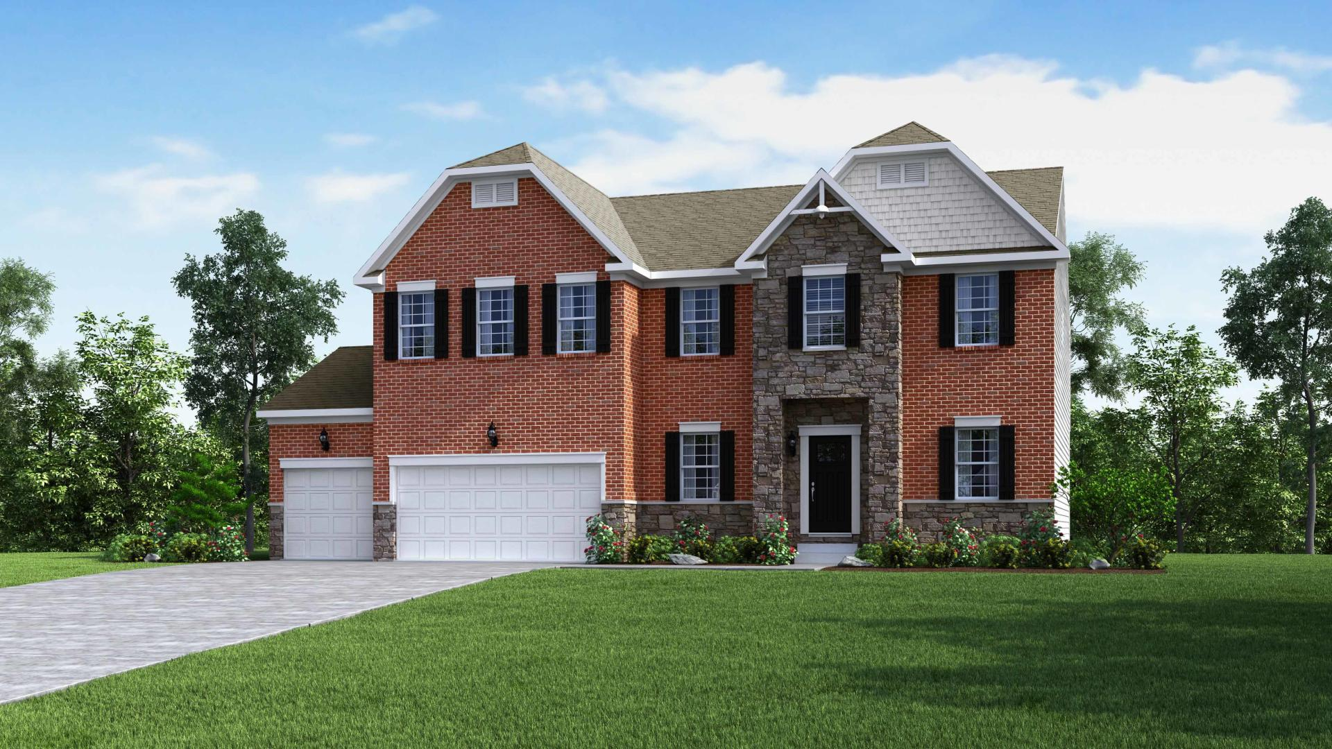Exterior:Elevation: B New England Partial Brick and Stone with 3 Car Garage