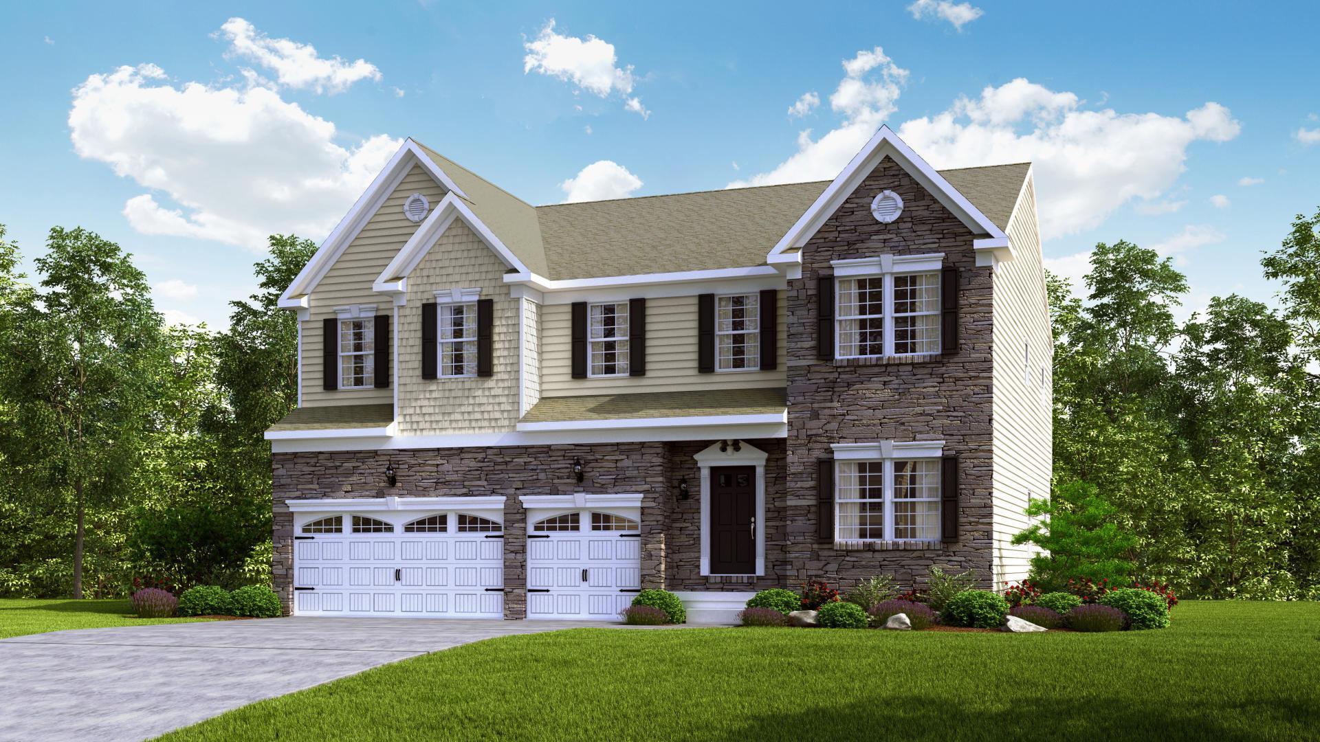 Exterior:Elevation: K Opt Partial Stone Front & Garage Doors