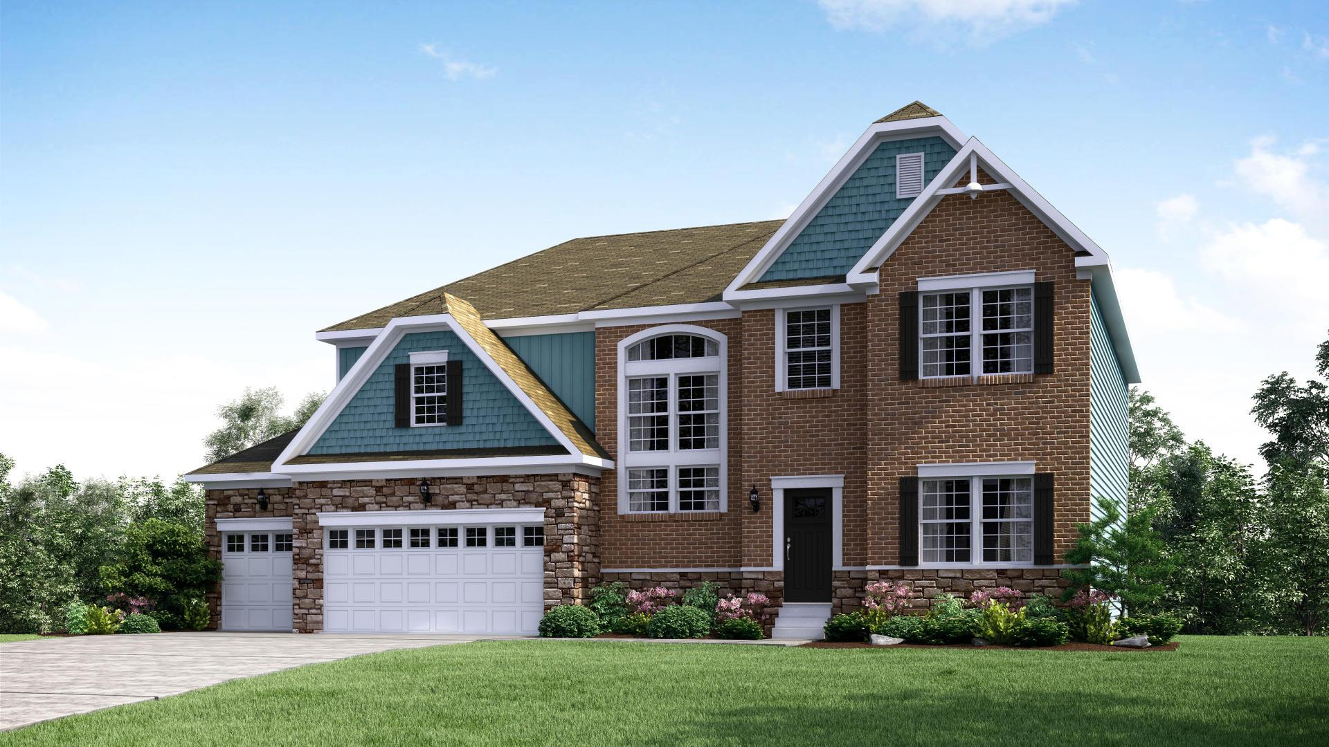 Exterior:Elevation: E Opt New England Inspired Facade, 3-Car Garage & Garage Doors