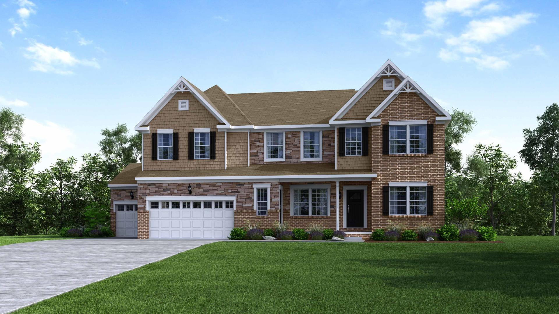 Exterior:Elevation: B Victorian Partial Brick and Stone with 3 Car Garage