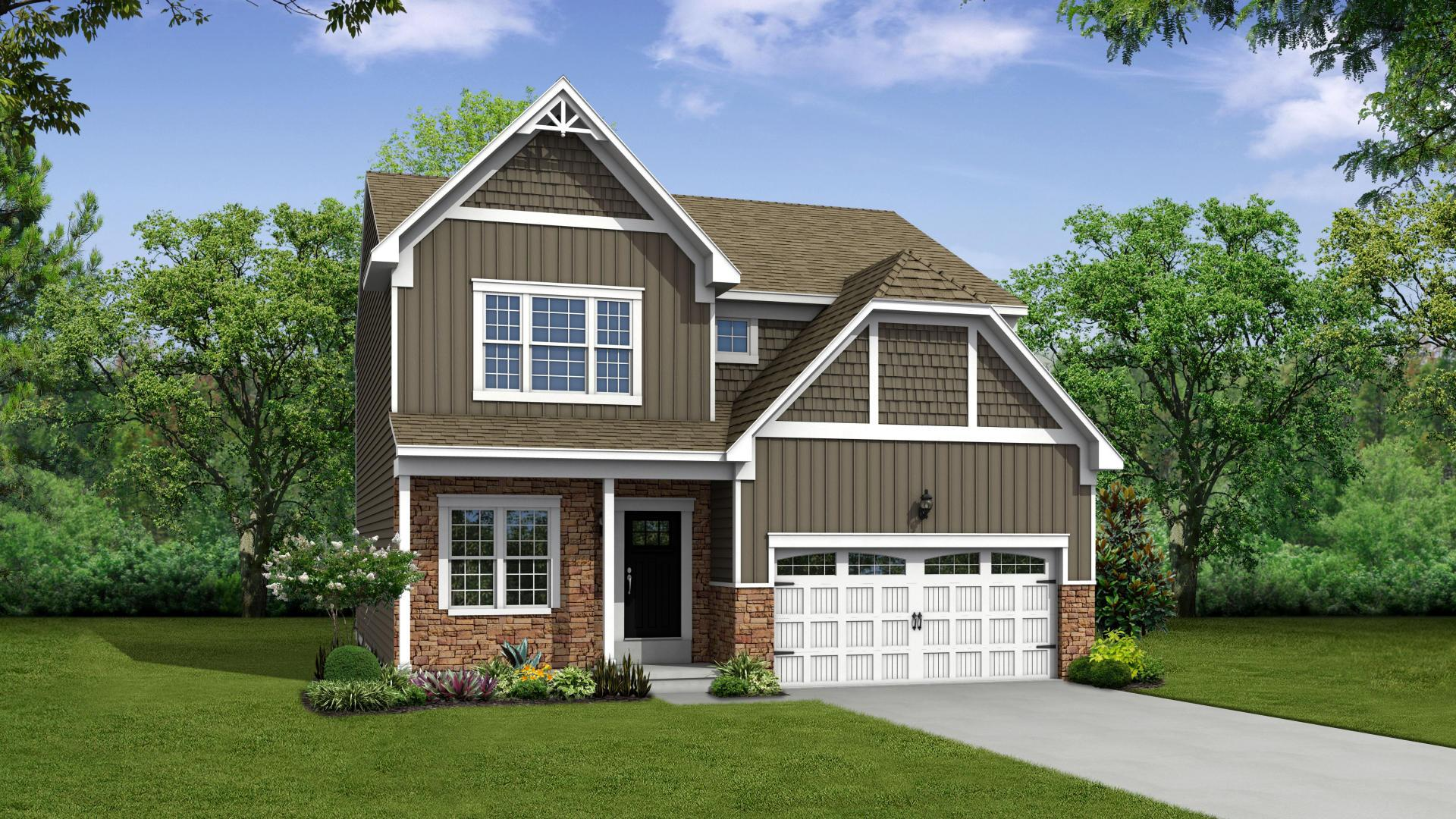 Exterior:Elevation: A Opt New England Stone Front, Full Porch, and Garage Door