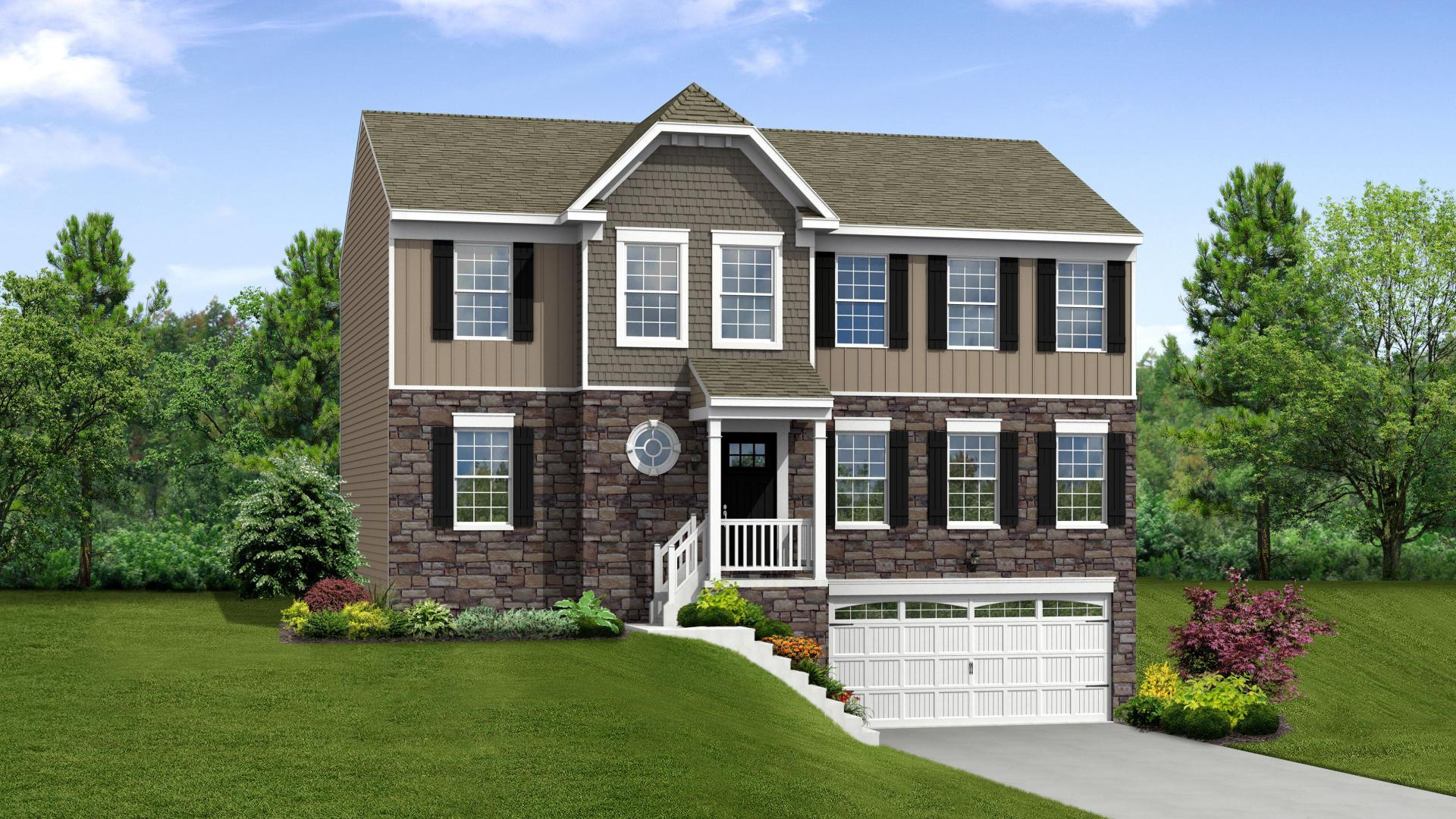 Exterior:Elevation: A Opt New England Inspired Facade, Porch, & Garage Door