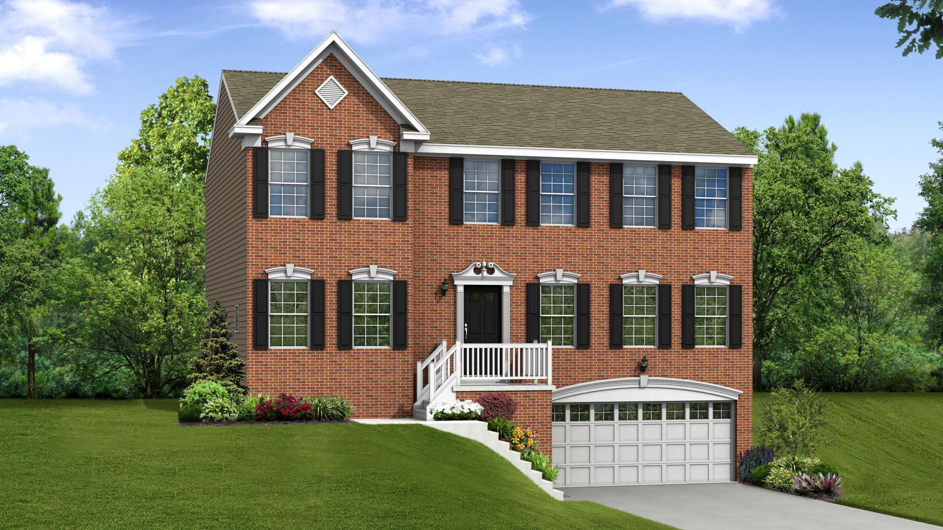 Exterior:Elevation: G Opt Brick Front & Garage Door