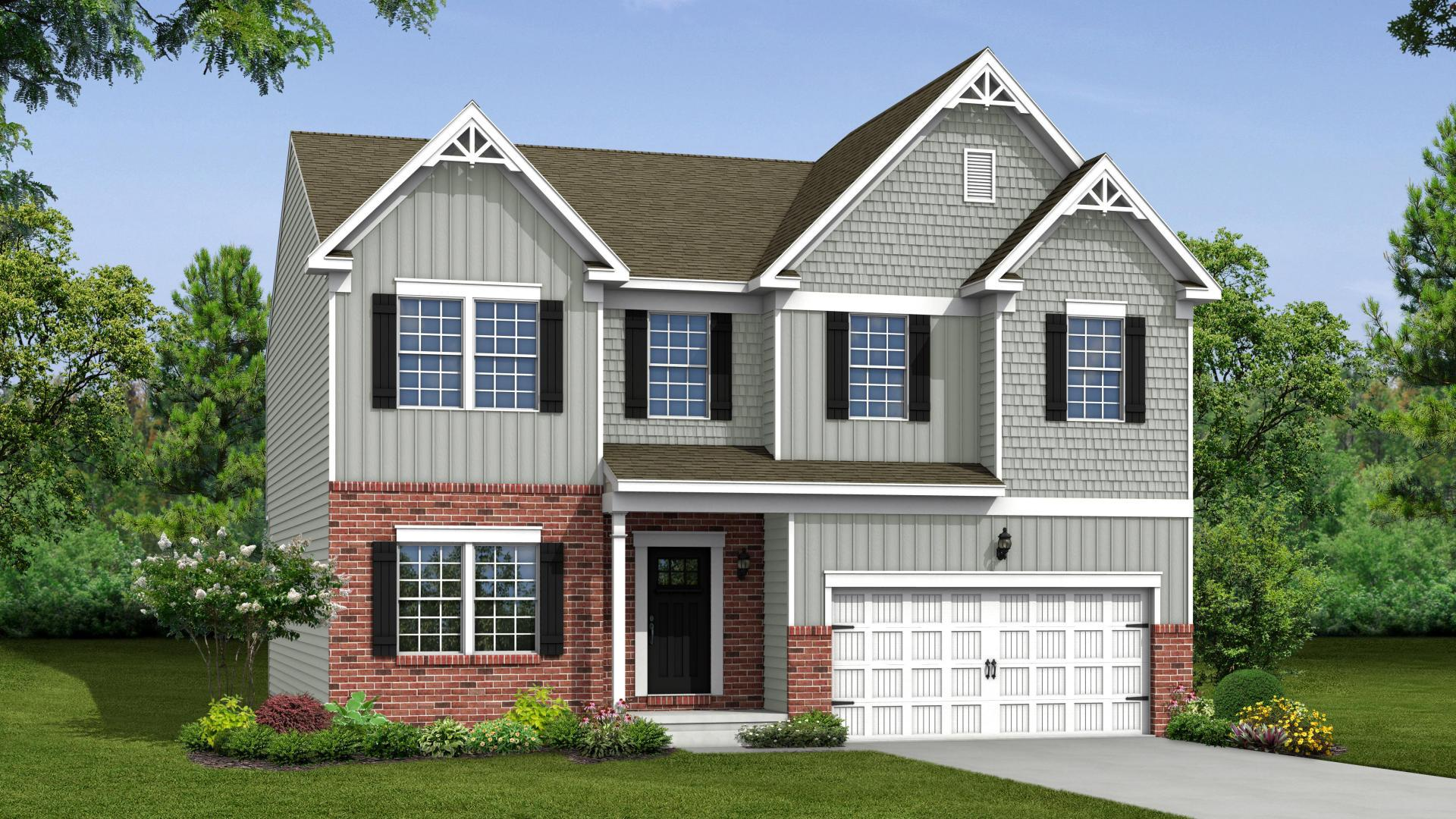 Exterior:Elevation: K Opt Carolina Partital Brick Facade, Porch, & Garage Door