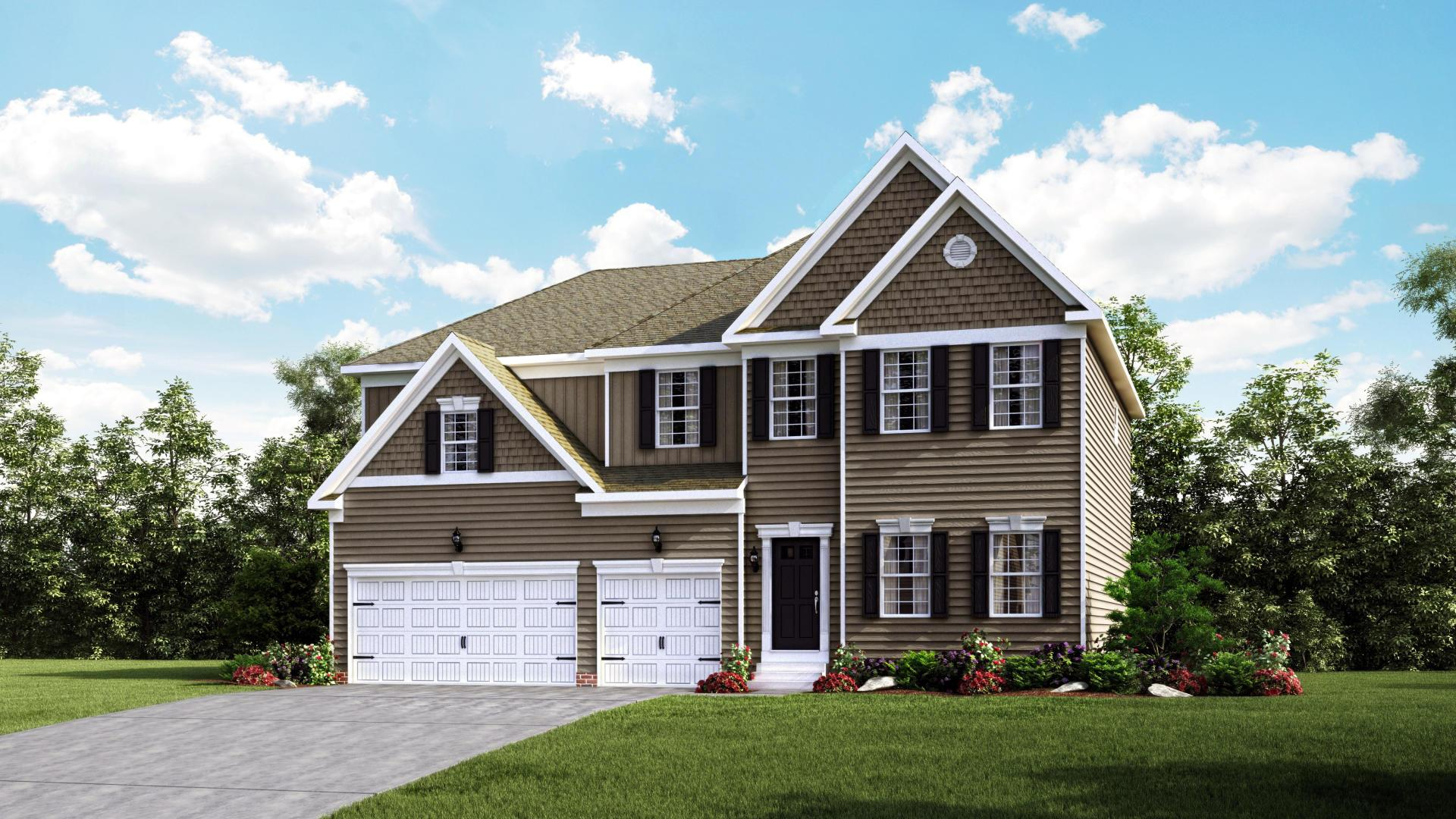 Exterior:Elevation: H Siding Facade Opt 3-Car Garage & Garage Doors