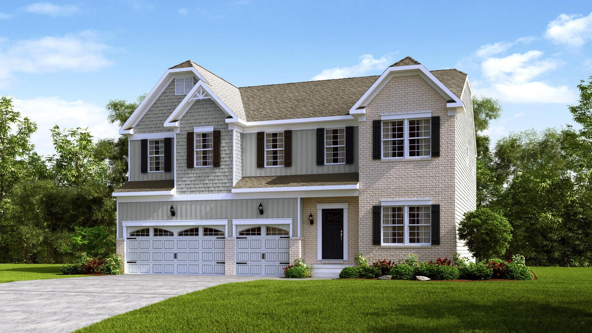 Exterior:Elevation: K Opt Carolina Front & Garage Doors