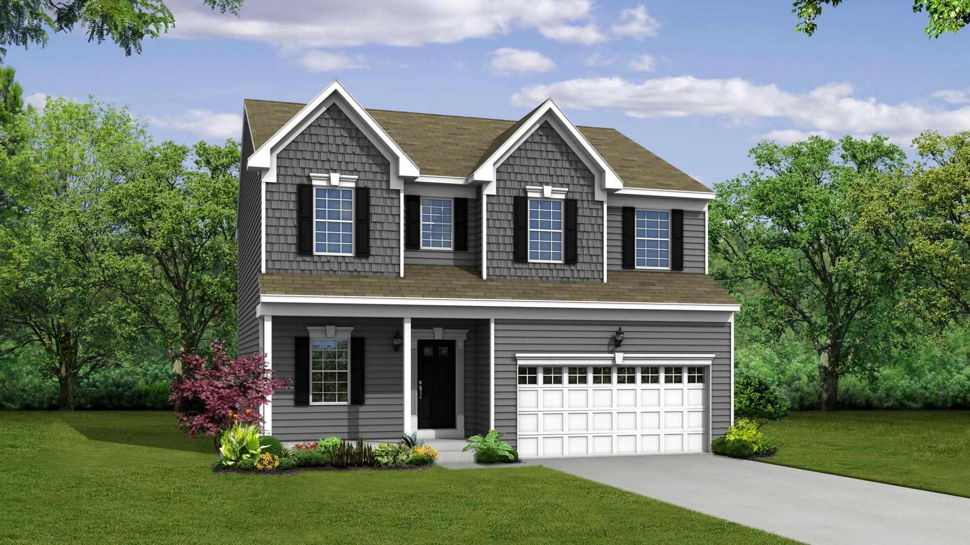 Exterior:Elevation: B Siding Facade with Opt Full Porch and Garage Door