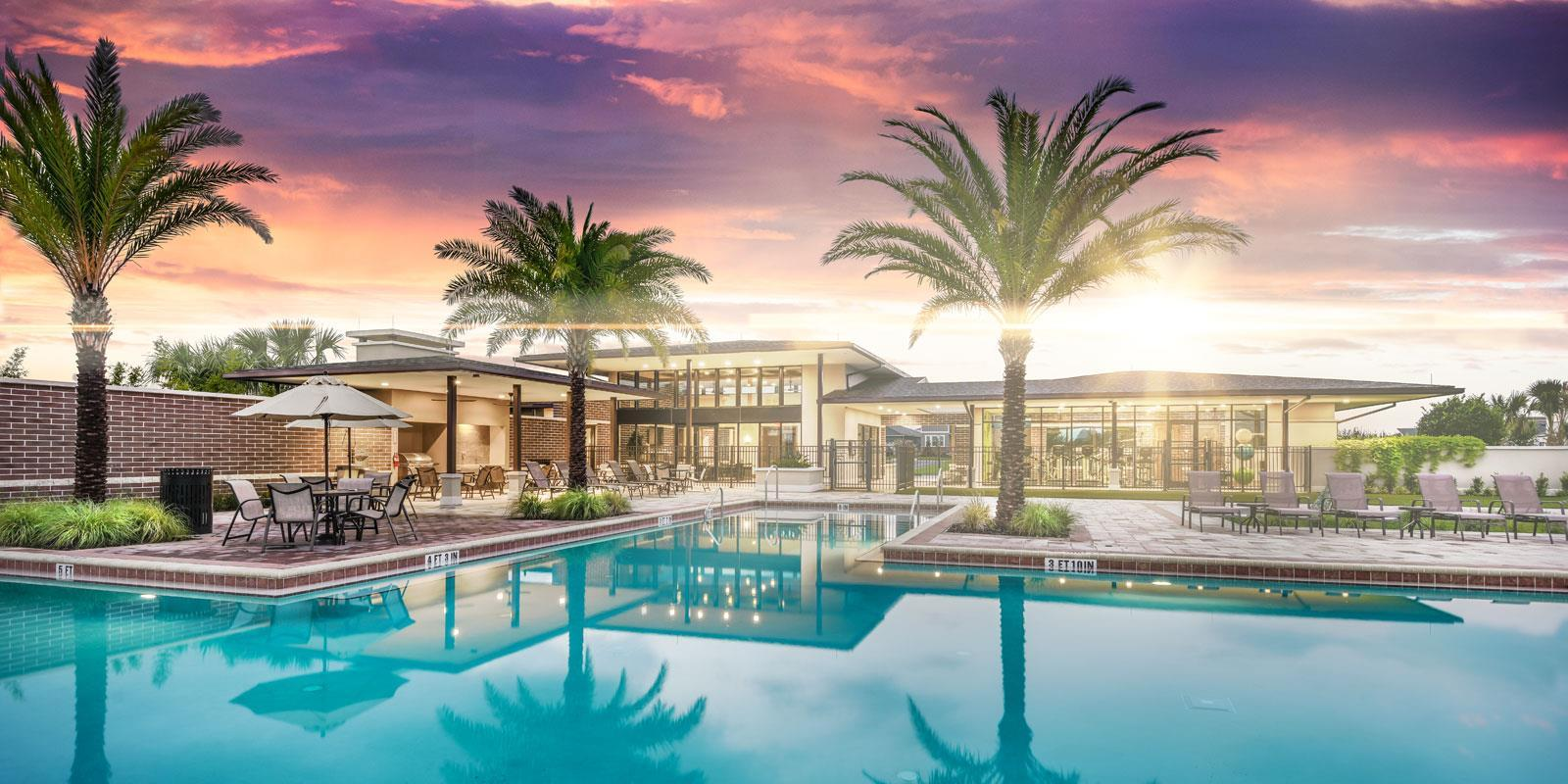 Winter Garden - Hawksmoor:Hawksmoor by Mattamy Homes in Winter Garden, FL: Sparkling Pool at Dusk