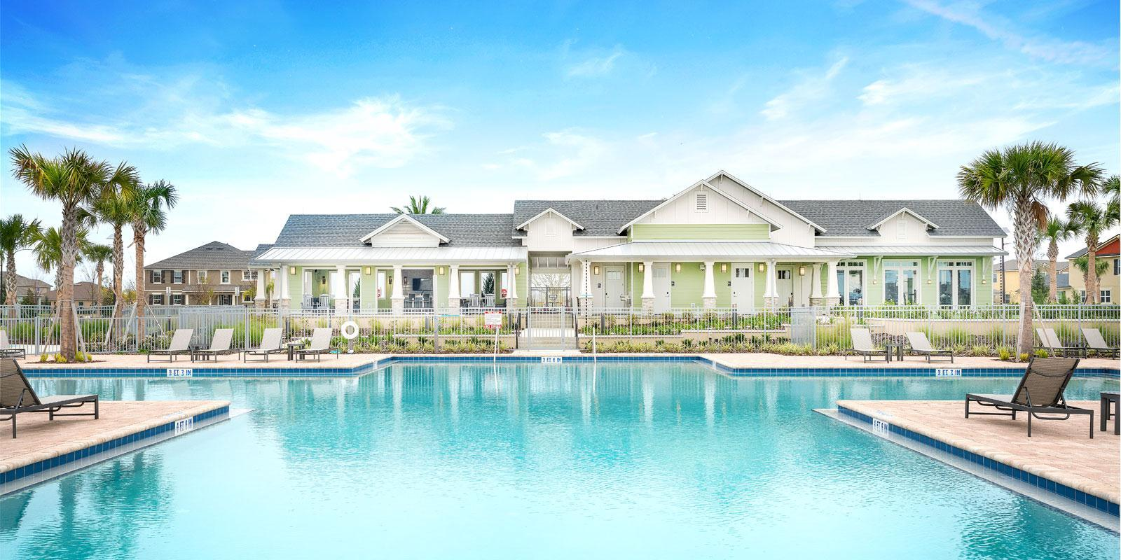Clermont - Waterbrooke:Mattamy Homes in Orlando: Waterbrooke Hero Image: Sparkling Pool and Clubhouse