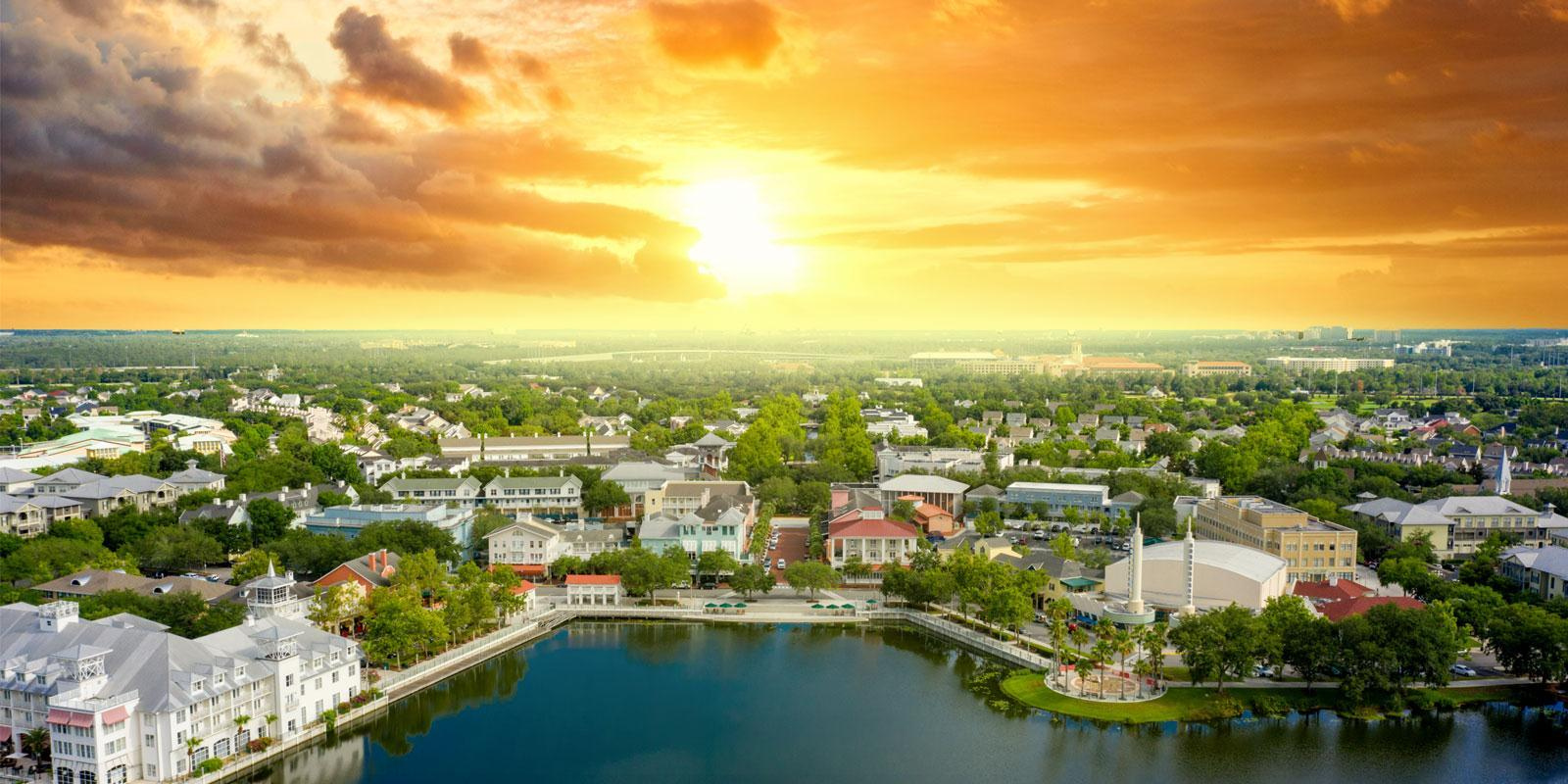 Island Village at Celebration:Celebration Florida Mattamy Homes Island Village Sunset