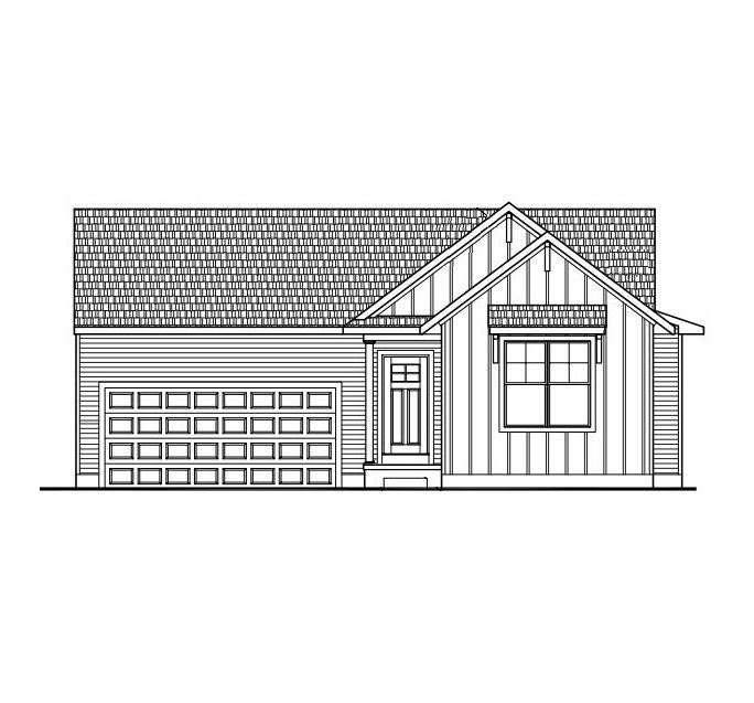 The Hartwell by Mayberry Homes:Front Sketch