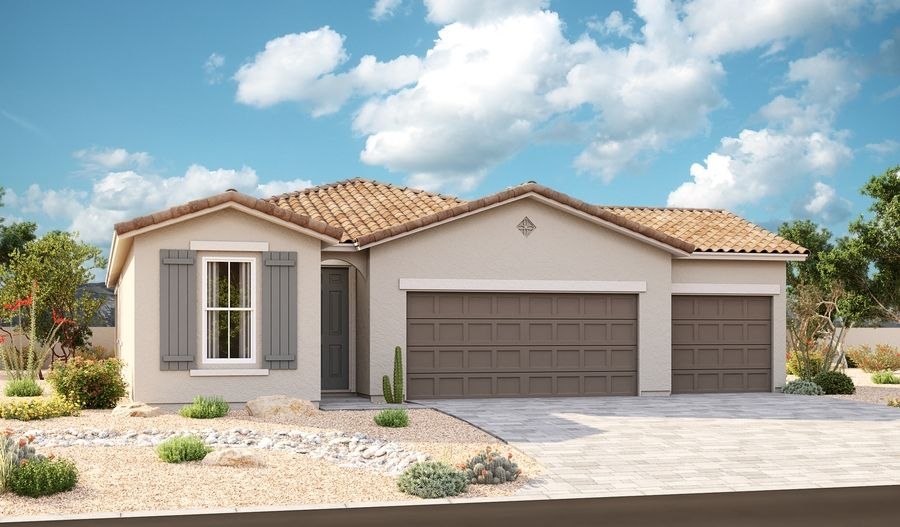 Sunstone-P919-SeasonsAtCottonwoodRanch Elevation A 3-Car:The Sunstone Elevation A