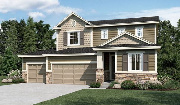 Citrine-R904-PaintBrushHills Elevation D (3-car)