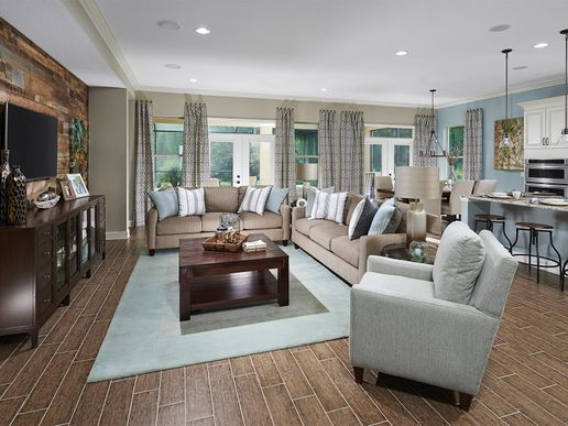 An open great room becomes a central gathering place within the home.
