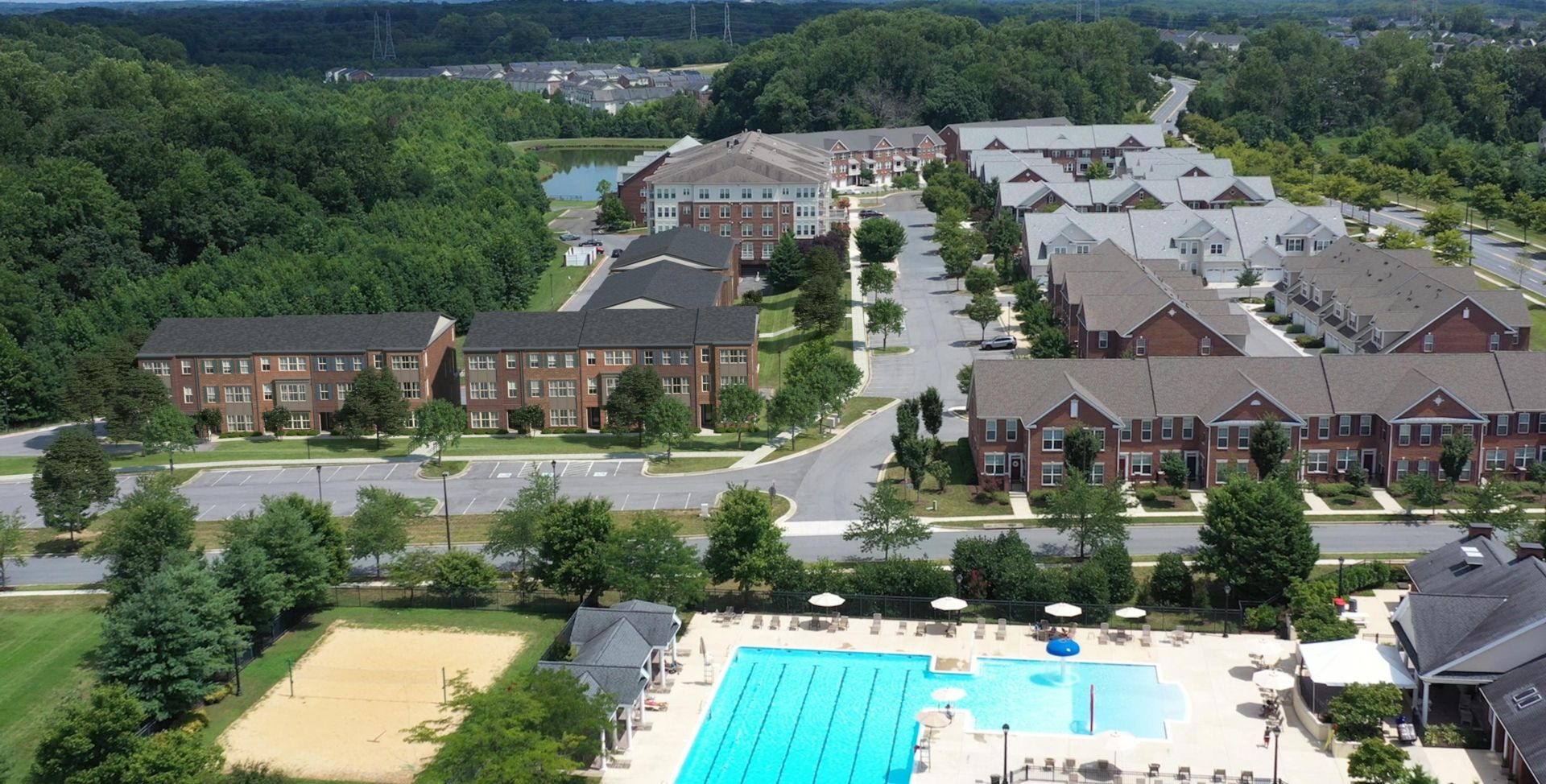 Aerial of Pool and Townhomes