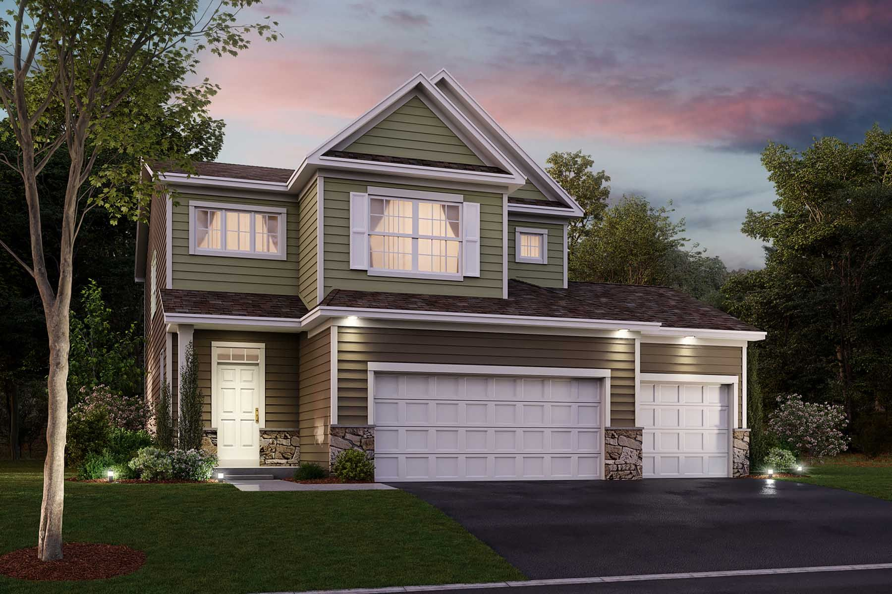 Harper 3-Car Elevation A - Optional Stone