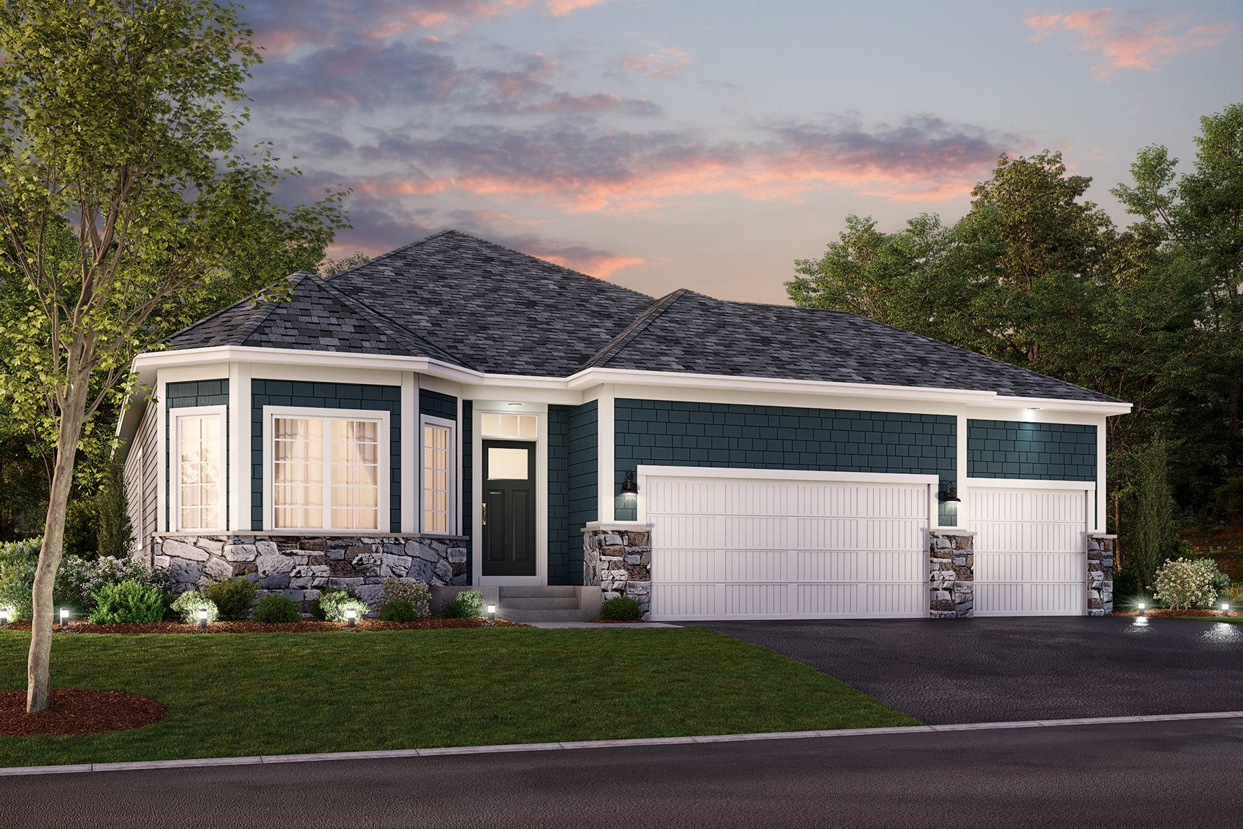 Graystone Elevation B – Stone 3-Car