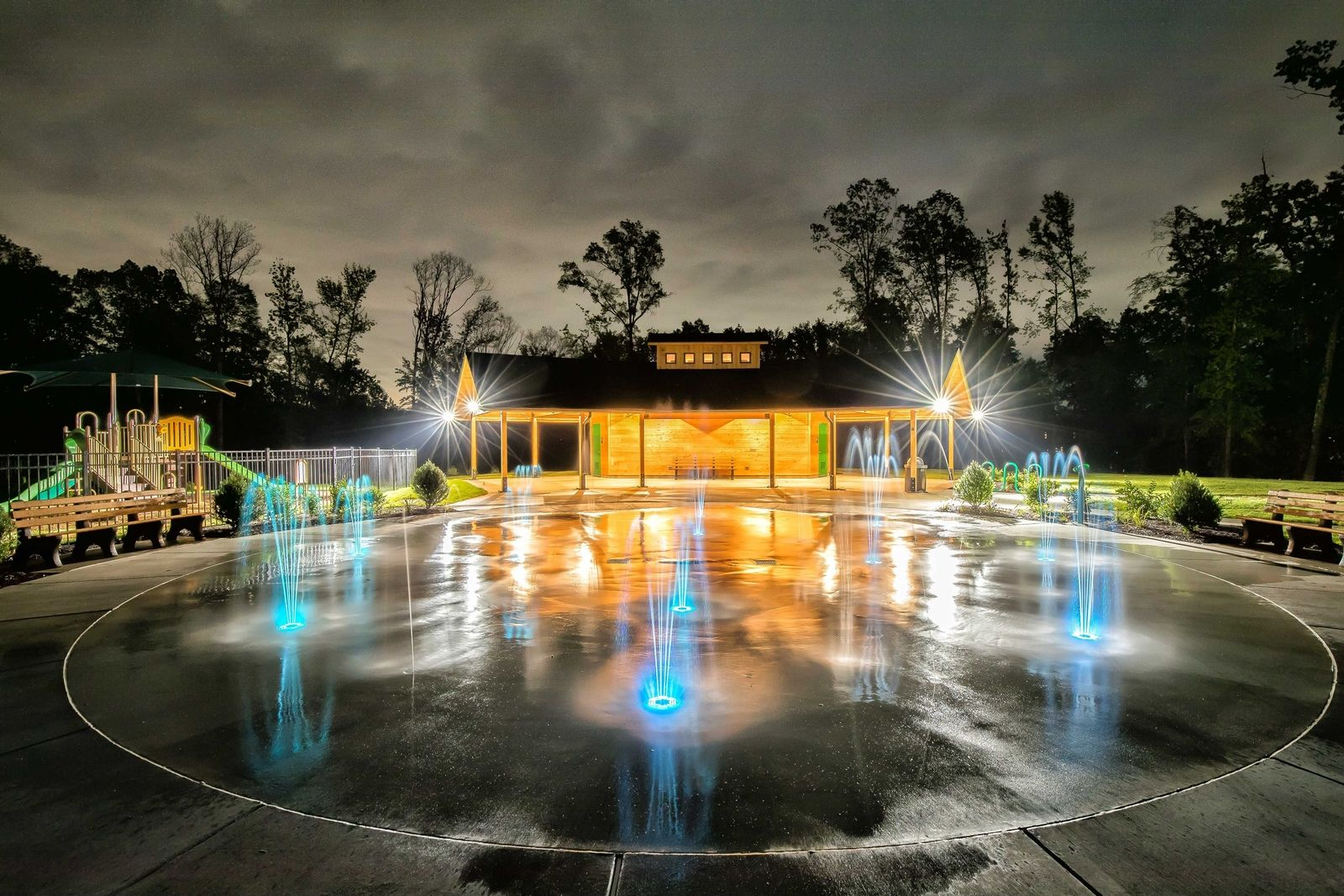 Enjoy our newest features!:The fun doesn't stop at sundown with the new illuminated splash pad and open air pavilion!