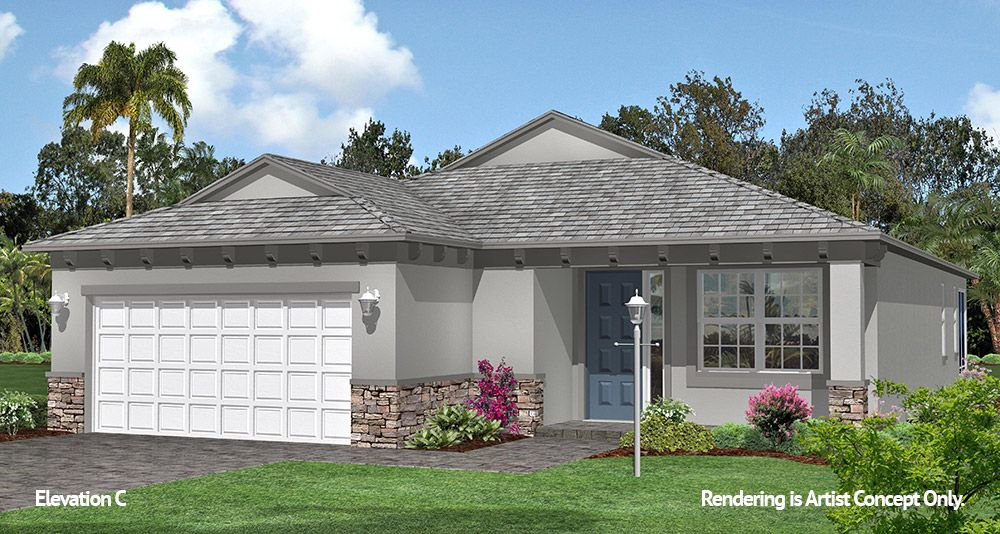 Orchid Elevation:Spacious Energy Efficient Floor plan at Retirement Community in Ocala, Florida