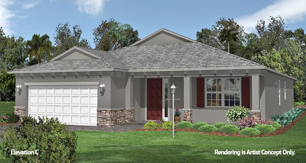Wisteria Elevation:Spacious Floor plan at 55+ Retirement Community in Ocala, Florida - On Top of the World Communities