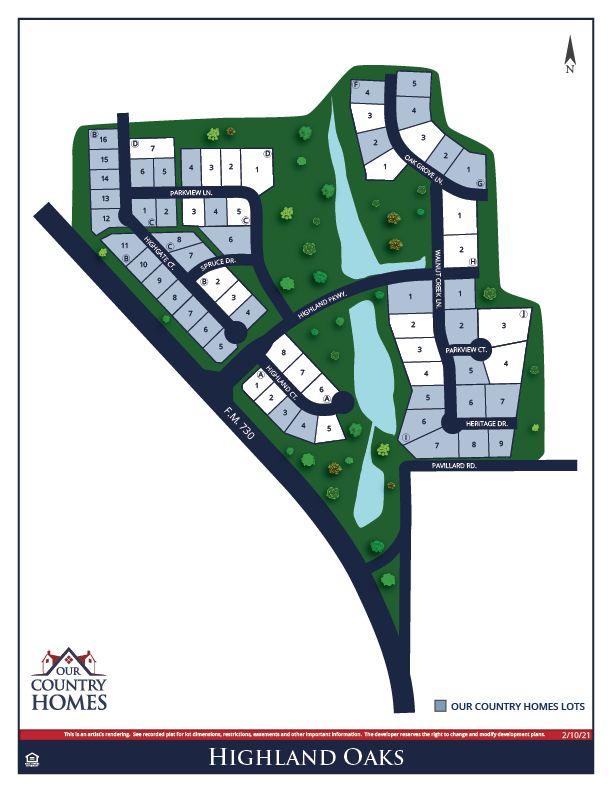 Highland Oaks Lot Map