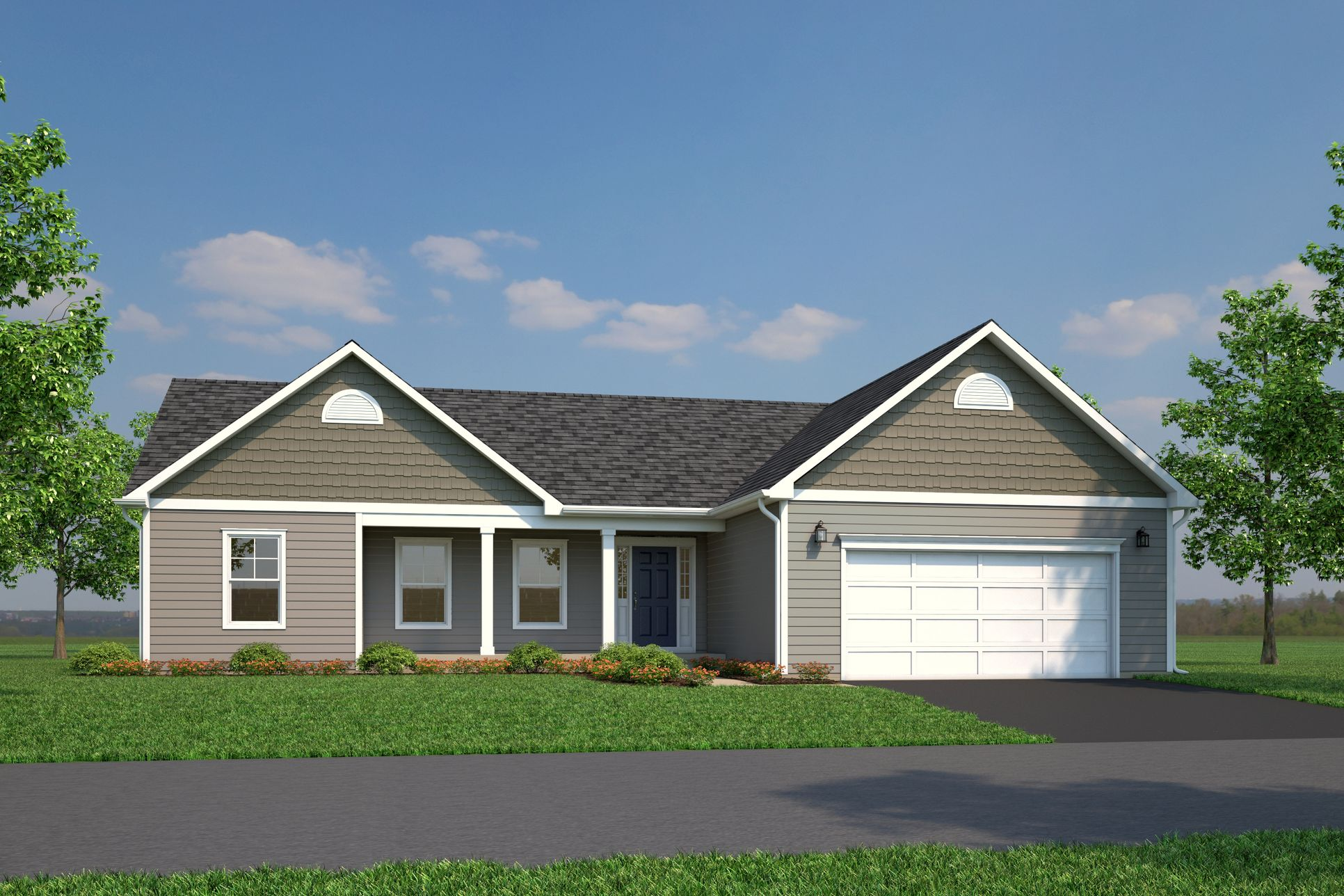 Carson - Garage Right - Front Exterior for Bridle Creek:Rendering of the front of a garage right Carson Model home in Bridle Creek Subdivision in Berkeley County, WV.