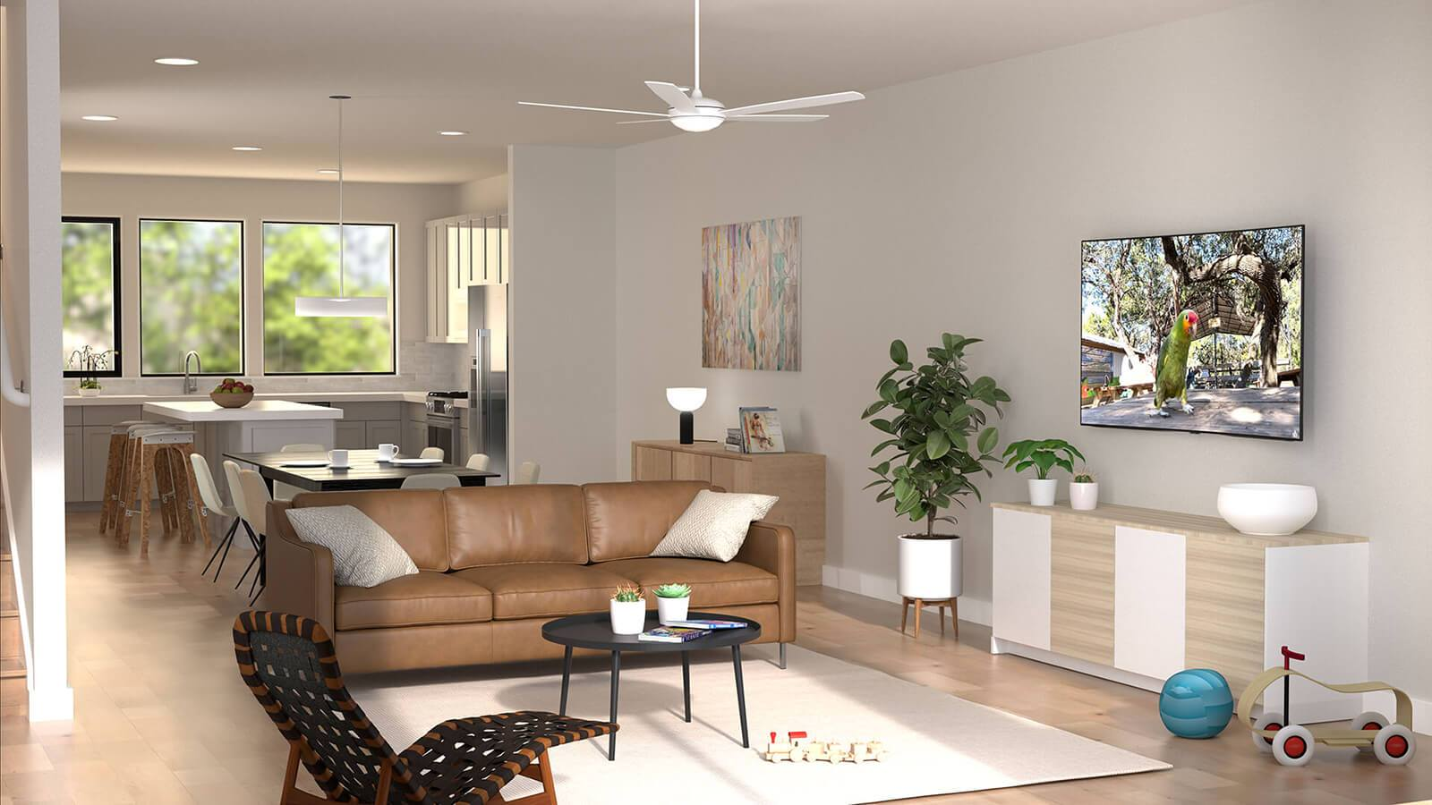 George - Interior Rendering:Living Room & Kitchen