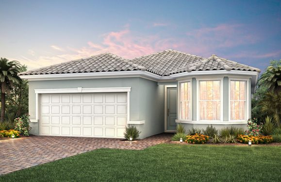 Wyndham:The Wyndham, a one-story family home with a 2 car garage, shown with Home Exterior FM2A
