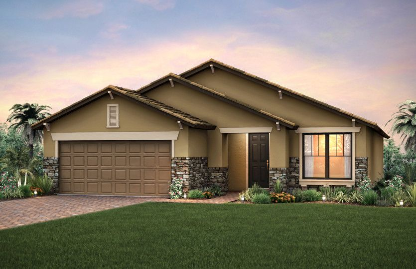 Martin Ray:Home Exterior C2B with decorative brick paver driveway