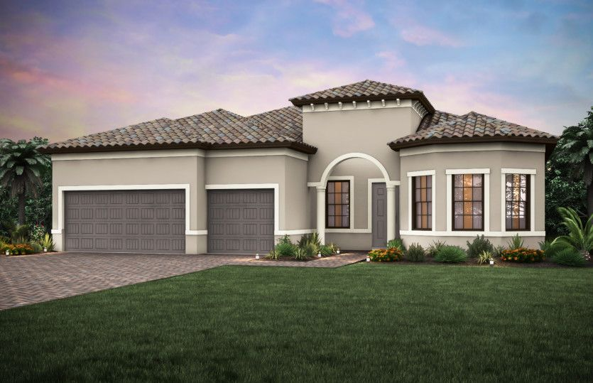 Pinnacle:Home Exterior FM2A with bay window and tile roof