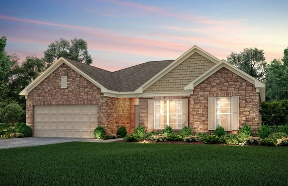 Amberwood:Amberwood Elevation 9 featuring brick & stone exterior with covered front door