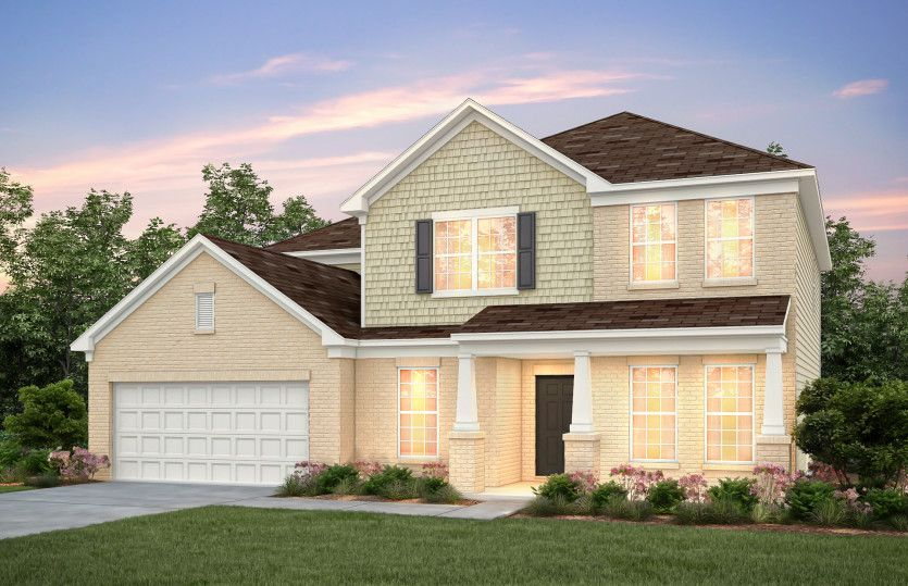 Westchester:Westchester Exterior 8 features brick, shakes and covered front porch