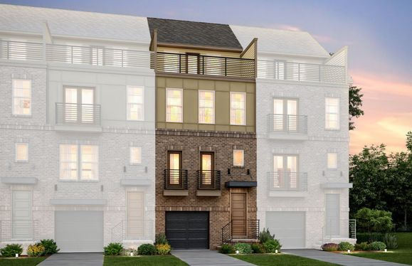 Exterior:Sanger Elevation 13 features brick, sideboard, terrace and 2 car tandem garage