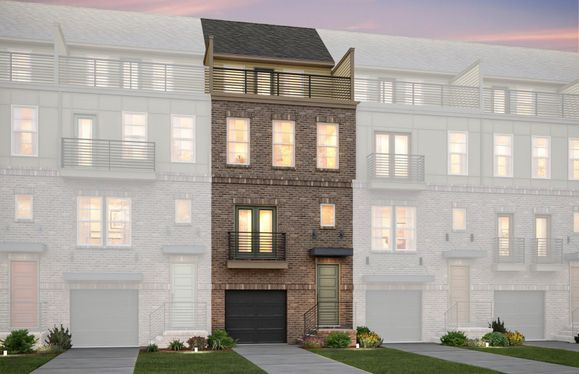 Exterior:Sanger Elevation 12 features brick, terrace and 2 car tandem garage