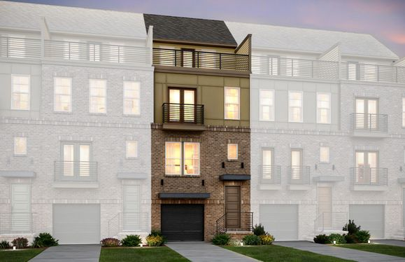 Exterior:Sanger Elevation 11 features brick, sideboard, terrace and 2 car tandem garage