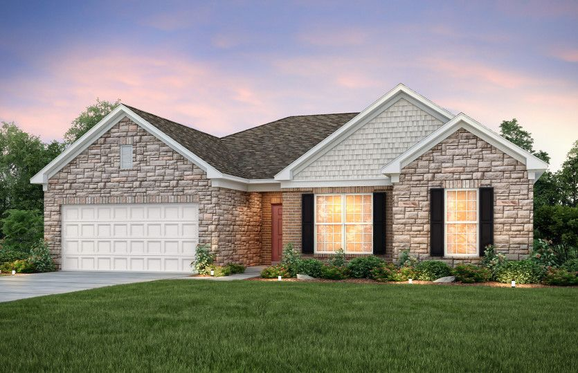 Amberwood:Amberwood Exterior 9 features stone, brick, shakes and covered front door