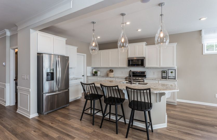 Allison II:Gourmet Kitchen with White Cabinets and Pendant Lighting