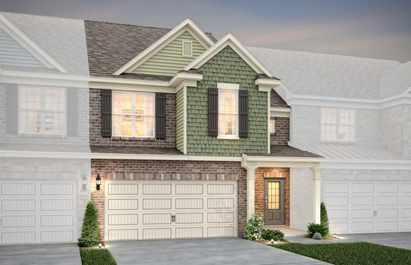 Exterior:Palomino Exterior 1 features brick, shakes, covered front door and 2 car garage