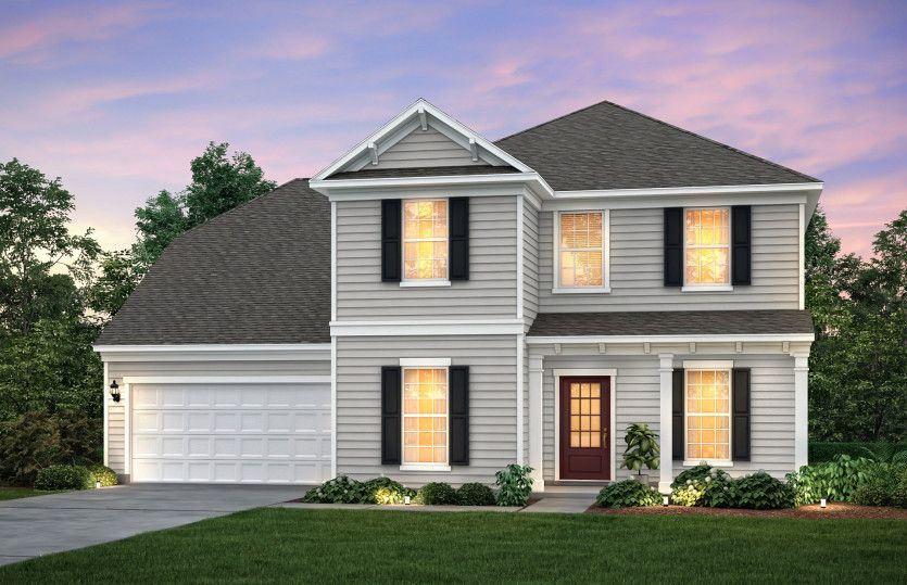 Exterior:Northridge Exterior 2 w/siding, front sitting porch and 2 car garage