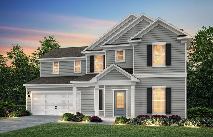 Exterior:Waterstone, a two story home w/covered front porch with Home Exterior 1