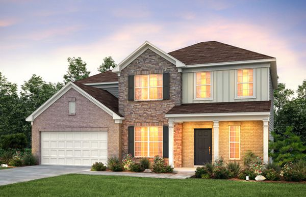 Rhodes:Rhodes Exterior 9 features brick, stone, siding and covered front porch