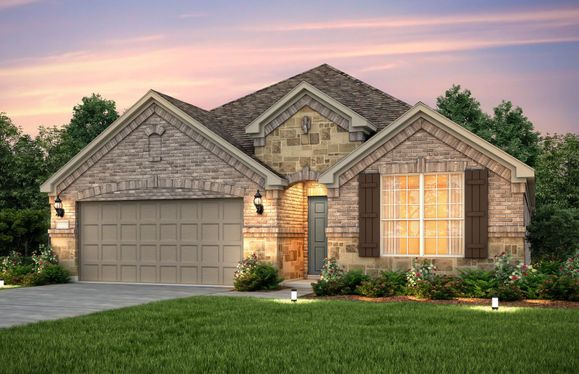 Exterior:The Sheldon, a one-story home with 2-car garage, shown with Home Exterior C